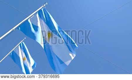 3d Rendering Of The National Flag Of Argentina Waving In The Wind