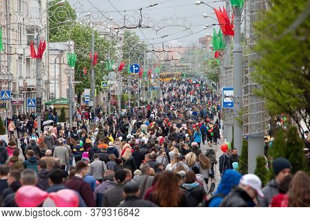 Belarus, The City Of Gomel, May 9, 2019. Holiday Victory Day.crowd Of People On The Street. Crowded