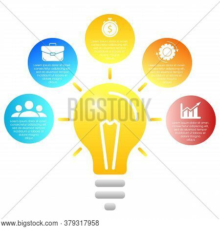 Light Bulb Infographic. Modern Colorful Lamp. Business Idea Concept With 5 Options, Steps Or Element