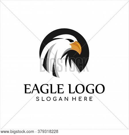 Eagle Logo Template, American Bald Eagle Head Logo Mascot In Cartoon Style