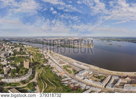 Panorama With A View Of The City Of Nizhny Novgorod From A Height.aerialviewfrom A Quadrocopter.