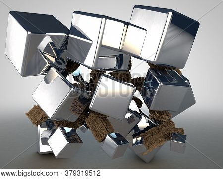 3d Render. Abstract Composition Of Metal Polished Cubes And Pieces Of Wood