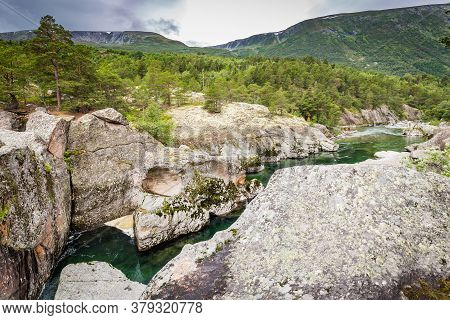 Magalaupet Gorge Of River Driva In Oppdal Municipality In Trondelag, Norway, Scandinavia