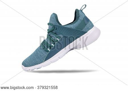 Green Sneakers Or Sport Running Shoe Isolated On A White Background
