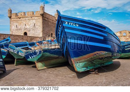 Essaouira, Morocco - Oct 25, 2019: Lots Of Blue Fishing Boats In The Port Of Essaouira, Morocco In A