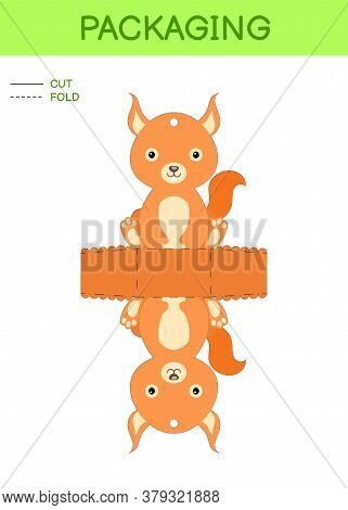 Diy Party Favor Box Die Cut Template Design For Birthdays, Baby Showers With Cute Squirrel For Sweet