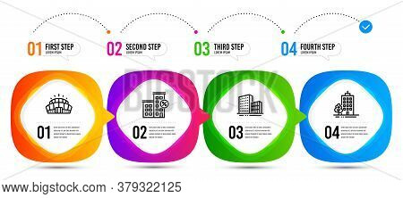 Skyscraper Buildings, Arena Stadium And Buildings Line Icons Set. Timeline Steps. Loan House Sign. T