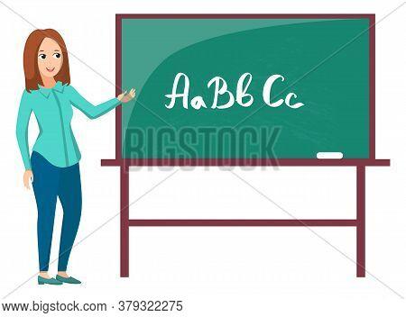 Teacher Standing Near Chalkboard, Letters Abc On Green Board. Tutor Teaching, Educational Element, E