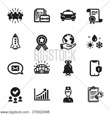Set Of Business Icons, Such As Graph Chart, Smartphone Protection. Certificate, Approved Group, Save