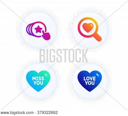 Miss You, Search Love And Hold Heart Icons Simple Set. Button With Halftone Dots. Love You Sign. Dat