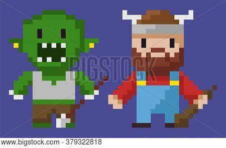 Pixel Game Graphics Characters Vector, Isolated Man With Horns On Hat, Hero With Weapon, Zombie Mons