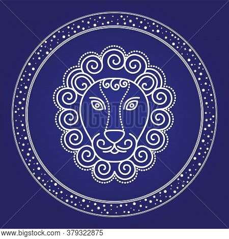 Leo Zodiac Emblem In Starry Circle Isolated On Blue. Head Of Lion Astronomy And Birthday Element. Co