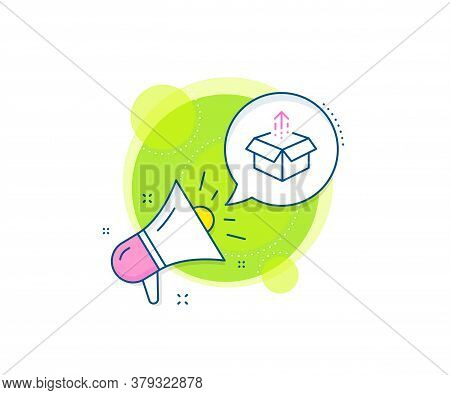 Open Delivery Parcel Sign. Megaphone Promotion Complex Icon. Send Box Line Icon. Cargo Package Symbo