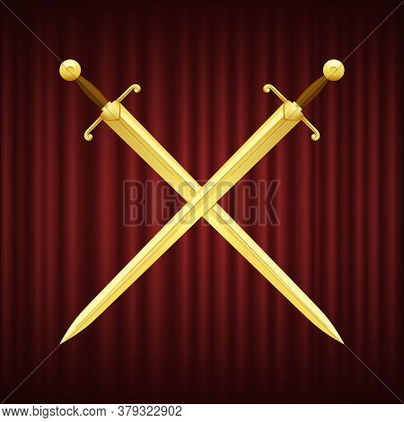 Two Golden Swords With Brown Handles Crossed. Medieval Weapon With Sharp And Shiny Blade On Red Back