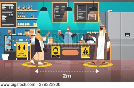 Arabian Cafe Visitors In Protective Masks Keeping Distance To Prevent Coronavirus Social Distancing
