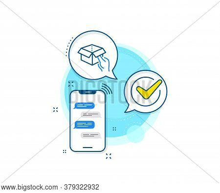Delivery Parcel Sign. Phone Messages Complex Icon. Hold Open Box Line Icon. Cargo Package Symbol. Me