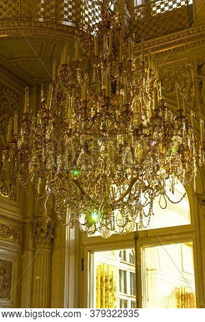 Saint Petersburg - November 23, 2019: Old Crystal Chandelier. Pavilion Hall Of The Small Hermitage.