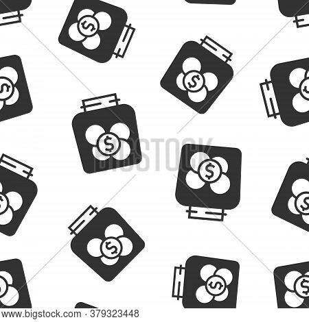 Money Box Icon In Flat Style. Coin Jar Container Vector Illustration On White Isolated Background. D