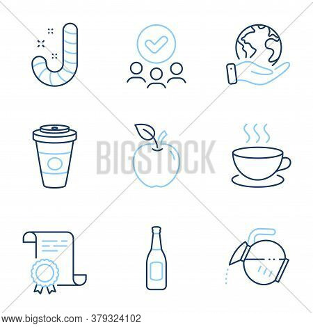 Takeaway Coffee, Beer And Coffee Pot Line Icons Set. Diploma Certificate, Save Planet, Group Of Peop