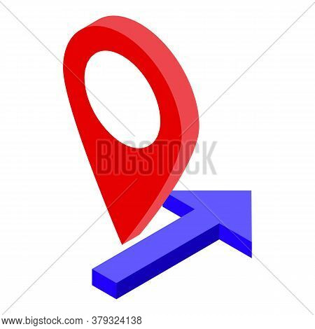 Gps Pin Remote Access Icon. Isometric Of Gps Pin Remote Access Vector Icon For Web Design Isolated O