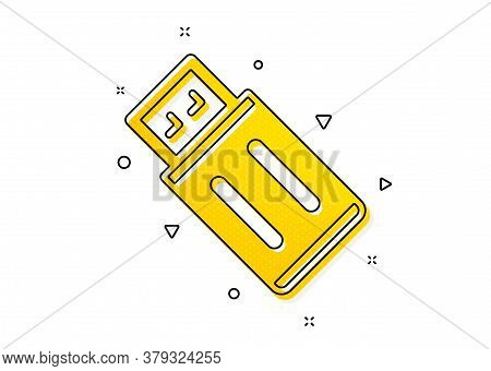 Memory Stick Sign. Usb Flash Drive Icon. Portable Data Storage Symbol. Yellow Circles Pattern. Class