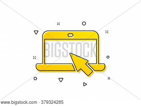 Notebook With Mouse Cursor Sign. Laptop Computer Icon. Portable Personal Computer Symbol. Yellow Cir