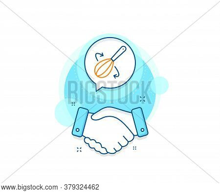Cutlery Sign. Handshake Deal Complex Icon. Cooking Whisk Line Icon. Food Mix Symbol. Agreement Shaki