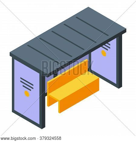 Bus Station Icon. Isometric Of Bus Station Vector Icon For Web Design Isolated On White Background