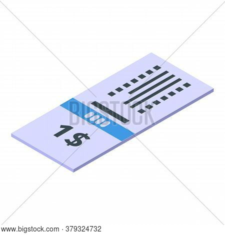 Control Bus Ticket Icon. Isometric Of Control Bus Ticket Vector Icon For Web Design Isolated On Whit