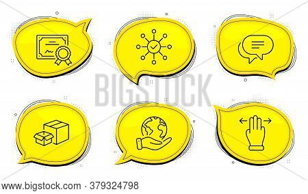 Packing Boxes Sign. Diploma Certificate, Save Planet Chat Bubbles. Text Message, Multitasking Gestur