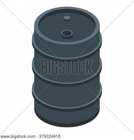 Metallurgy Steel Barrel Icon. Isometric Of Metallurgy Steel Barrel Vector Icon For Web Design Isolat