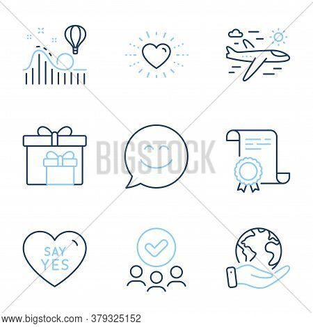 Airplane Travel, Delivery Boxes And Roller Coaster Line Icons Set. Diploma Certificate, Save Planet,