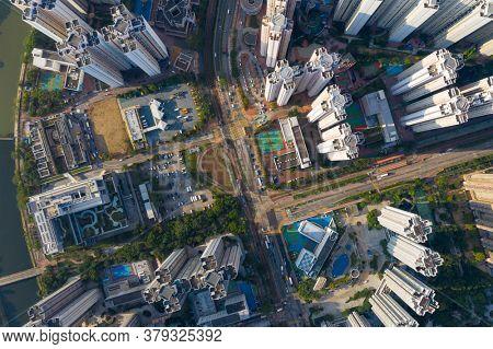 Tin Shui Wai, Hong Kong 04 October 2019: Top view of Hong Kong city