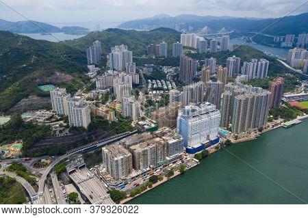 Tsing Yi, Hong Kong 24 June 2020: Top view of Hong Kong city
