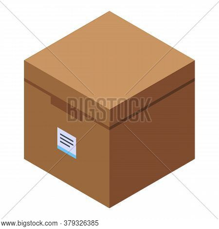 Carton Box Storage Document Icon. Isometric Of Carton Box Storage Document Vector Icon For Web Desig