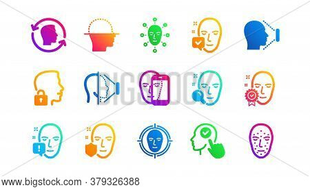 Biometrics Detection, Face Id And Scanning. Face Recognize Icons. Identification Classic Icon Set. G