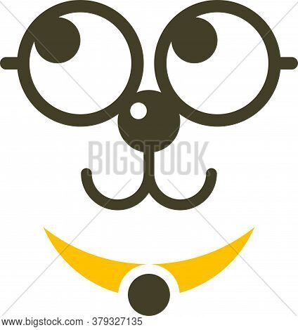 Cute Dog Line Logo With Glasses Using A Yellow Necklace. Fun, Cute, Cheerful, Clean And Professional