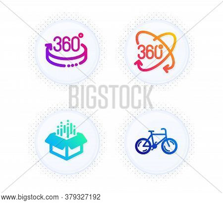 Full Rotation, 360 Degrees And Open Box Icons Simple Set. Button With Halftone Dots. Bicycle Sign. 3