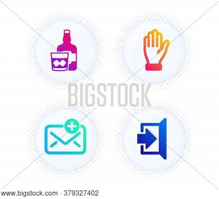 Hand, Whiskey Glass And New Mail Icons Simple Set. Button With Halftone Dots. Exit Sign. Waving Palm
