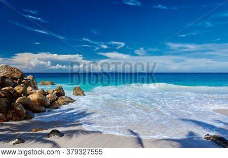 Beautiful Carana beach with palm tree shadow at Seychelles, Mahe