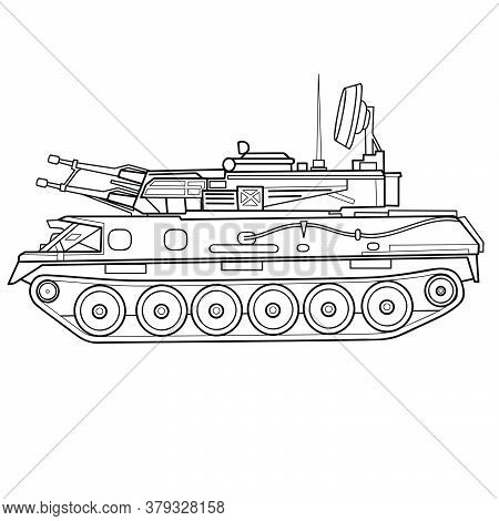 Sketch Of An Armored Vehicle, Tank, Coloring, Isolated Object On White Background, Vector Illustrati
