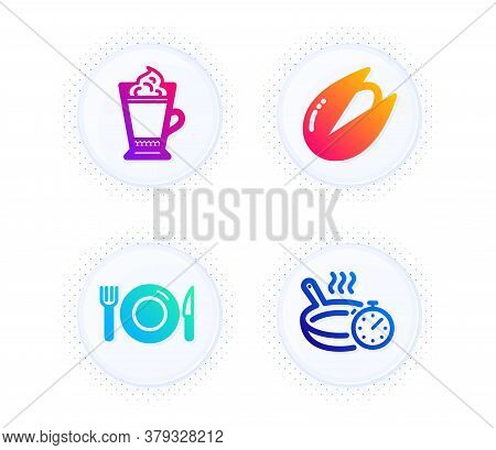 Latte Coffee, Pistachio Nut And Food Icons Simple Set. Button With Halftone Dots. Frying Pan Sign. H