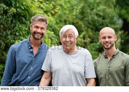 Three Generation Men Family Portraits Front View