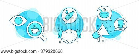 Teacup, Coffee And Water Bottle Line Icons Set. Handshake Deal, Research And Promotion Complex Icons