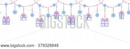 Seamless Horizontal Background With A Festive Christmas Garland Of Different Gift Boxes, Openwork Sn