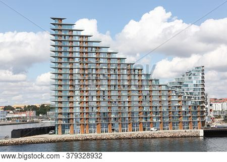 Aarhus, Denmark - August 2, 2019: Aarhus Island With Seaside Residences And The New Children Theater