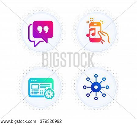 Quote Bubble, Music Phone And Web Timer Icons Simple Set. Button With Halftone Dots. Multichannel Si