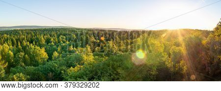 Panoramic View To Summer Czech Forest Landscape At Sunset. Nature Reserve Krusne, Ore Mountains