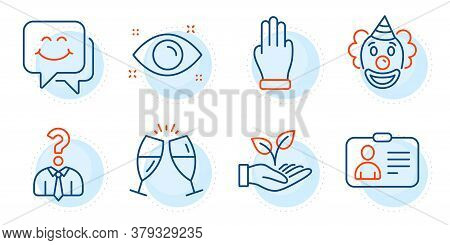 Champagne Glasses, Id Card And Helping Hand Signs. Three Fingers, Health Eye And Smile Face Line Ico