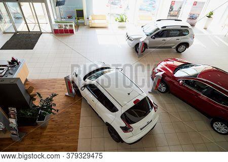Vologda, Russia - June 18, 2019: Cars In Showroom Of Dealership Nissan In Vologda In Russia. Top Vie